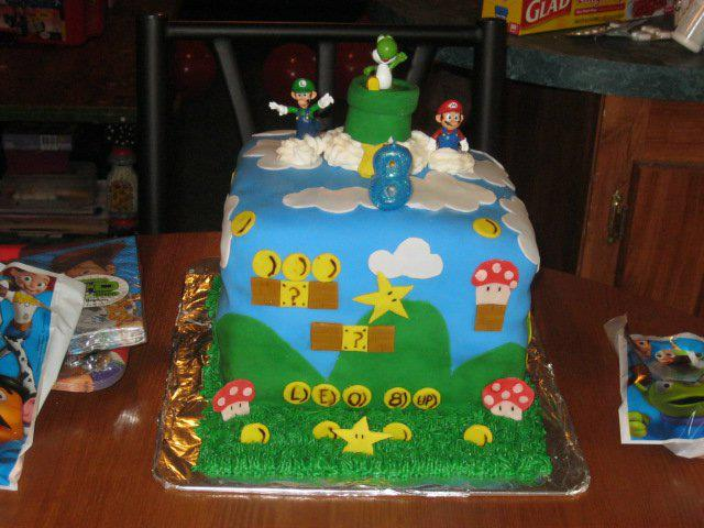 Super Mario Bros Cake I made for my sons Birthday